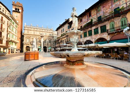View of the Piazza delle Erbe in center of Verona city, Italy