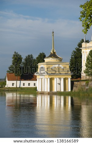 View of the pier of the Bishops Nil desert. Russia, Tver region - stock photo