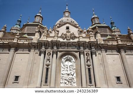 View of the Pilar Basilica in Zaragoza.Spain - stock photo