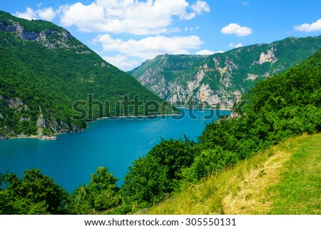 View of the Piva River and Lake, in Northern Montenegro