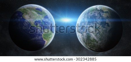 View of the planet Earth from space close to an ex planet - stock photo