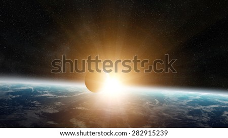 View of the planet Earth from space during a sunrise