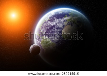 View of the planet Earth from space during a sunrise - stock photo