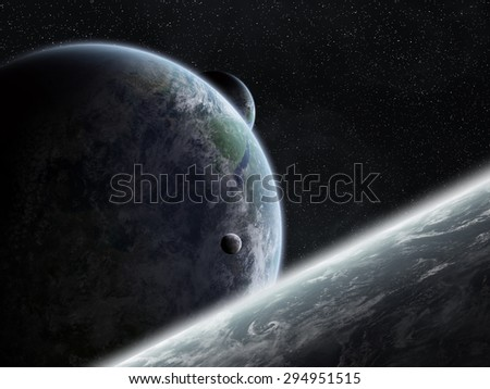 View of the planet Earth from space during a sunrise 'elements of this image furnished by NASA' - stock photo