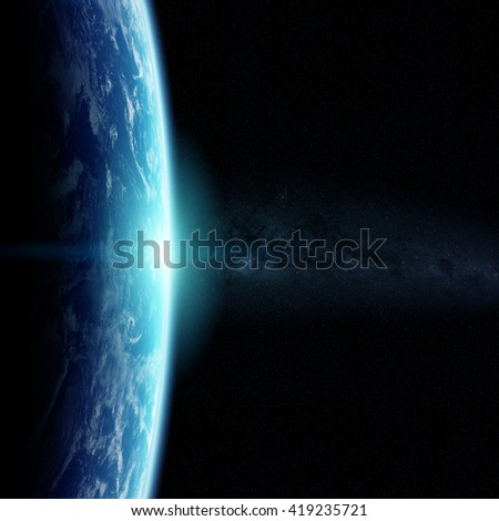 View of the planet Earth from space during a sunrise 'elements of this image furnished by NASA' '3D illustration' - stock photo
