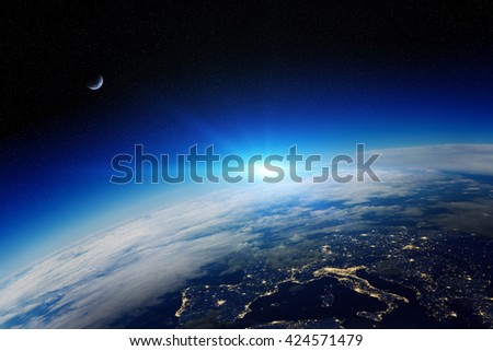 View of the planet Earth from space during a sunrise 'elements of this image furnished by NASA''3D rendering' - stock photo