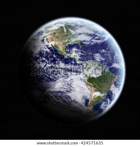 View of the planet Earth from space during a sunrise 'elements of this image furnished by NASA' '3D rendering' - stock photo