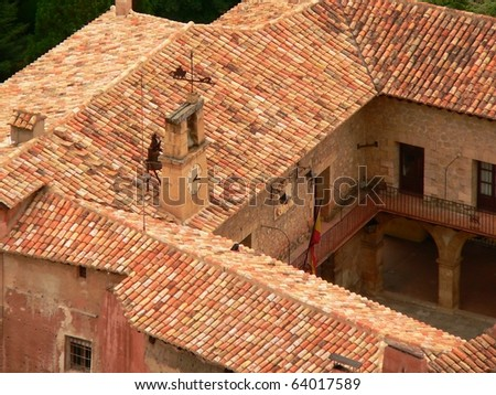 view of the plaza mayor in the village of albarracin in teruel in spain