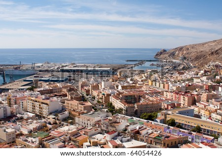 View of the port of Almeria from the Alcazaba fortress. - stock photo