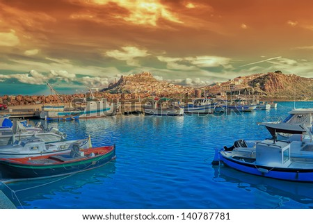 view of the port of Castelsardo at sunset