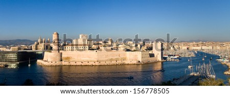 View of the port of Marseille - stock photo