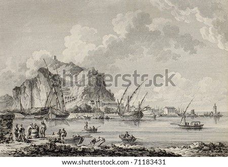 View of the port of Palermo, Italy. By Chatelet and Paris, published on Voyage Pittoresque de Naples et de Sicilie,  J. C. R. de Saint Non, Imprimerie de Clousier, Paris, 1786 - stock photo