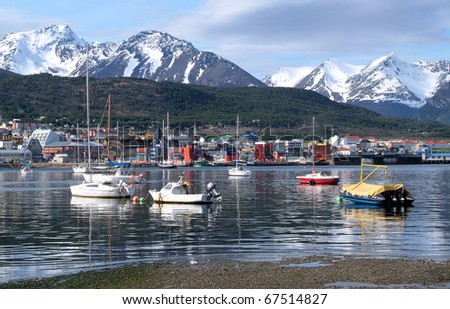 View of the port of Ushuaia, Tierra del Fuego, Patagonia, Argentina - stock photo
