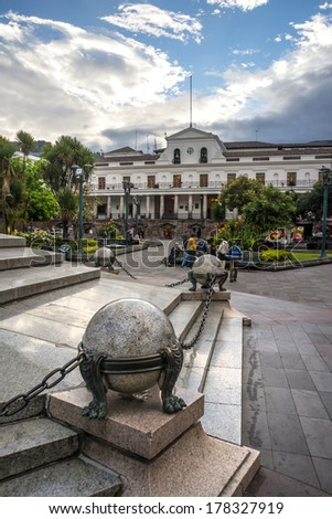 View of the President's Palace from the Independence Plaza, Quito Ecuador - stock photo