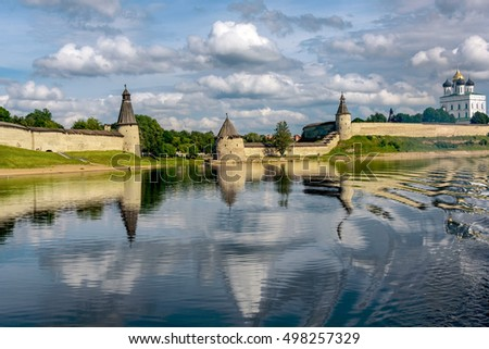 View of the Pskov Kremlin from Velikaya River in the summer in a sunny weather