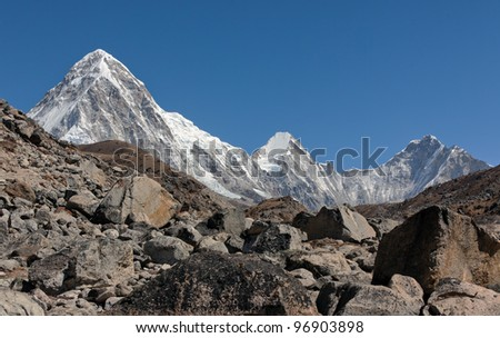 View of the Pumo Ri from the Khumbu glacier - Mt. Everest region, Nepal