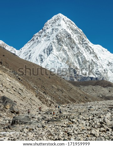 View of the Pumo Ri (7161 m) from Gorak Shep - Everest region, Nepal