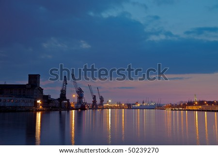 View of the quay port of Gdansk, Poland. - stock photo