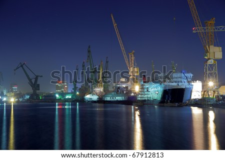 View of the quay shipyard of Gdansk, Poland. - stock photo