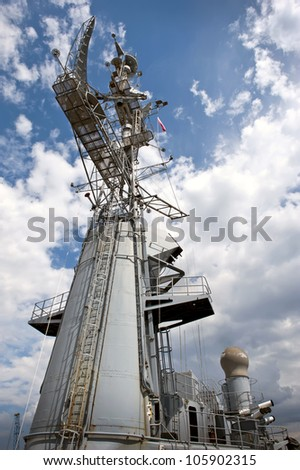 View of the radar tower on the modern warship.