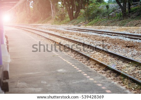 view of the railway close up at sunset