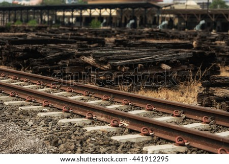 View of the railway track in summer day - stock photo