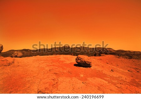 View of the red terrestrial planet - stock photo