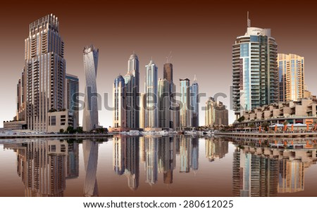 View of the region of Dubai - Dubai Marina - stock photo