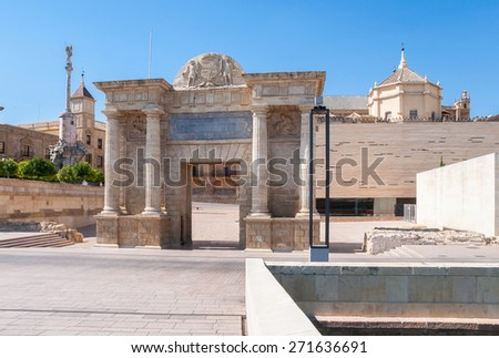 View of the renaissance Gate of the Bridge in Cordoba, Spain - stock photo