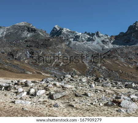View of the Renjo pass from the west - Gokyo region, Nepal, Himalayas - stock photo
