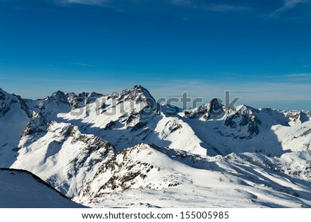 View of the resort of Les Deux Alpes, French Alps, France - stock photo
