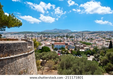 View of the Rethymnon from the Fortezza. Crete, Greece. - stock photo