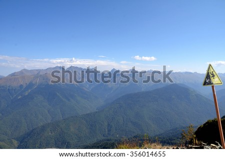 View of the ridge Achishkho, Sochi, Russia