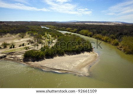 View of the Rio Grande River from Boquillas Canyon Overlook in Big Bend National Park. International Border between United States and Mexico. - stock photo