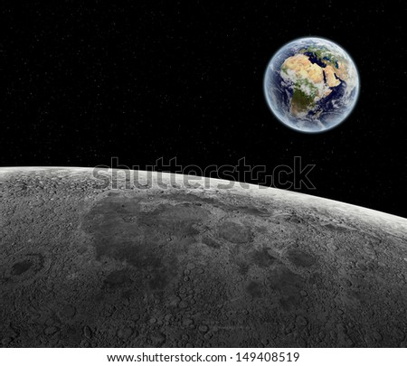 View of the rising Earth seen from the Moon's surface - earth texture from NASA.gov - stock photo
