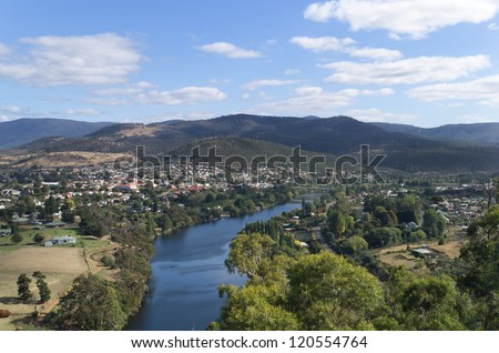 View of the River Derwent at the townhip of New Norfolk, near Hobart, Tasmania, Australia