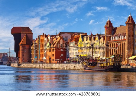 View of the riverside on Old Town by the Motlawa river in Gdansk, Poland. - stock photo
