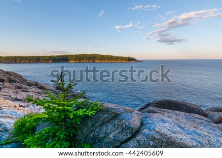 View of the rocky cliff shore line at Acadia National Park. Maine, New England - stock photo
