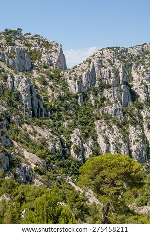 """View of the rocky landscape """"Calanques"""" near Marseille in South France - stock photo"""