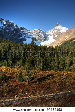View of the Rocky Mountains along Icefields Parkway - stock photo