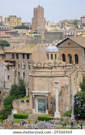View of the Roman Forum and bronze doors - stock photo