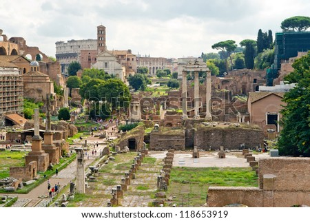 View of the Roman Forum in Rome, Italy - stock photo