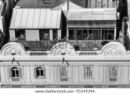 view of the roof and part of the facade of a modernist building in Barcelona - stock photo