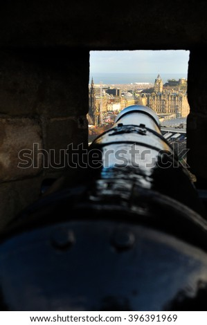 View of the roofs of medieval buildings as seen from the castle in Edinburgh, Scotland, UK - stock photo