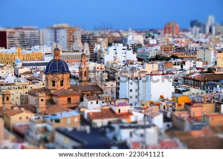 View of the roofs of Valencia and St. Thomas Church, Spain - stock photo