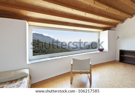 view of the room, rural home interior, picture window - stock photo