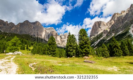 view of The Rosengarten group, a massif in the Dolomites of northern Italy