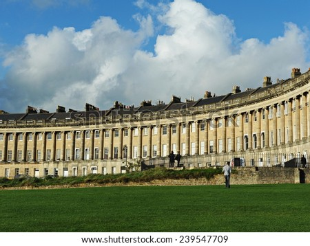 View of the Royal Crescent Seen from Victoria Park in the City of Bath in Somerset England - stock photo