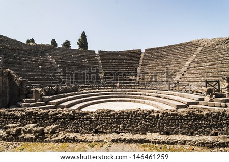 view of the ruins of roman Theater in Pompeii, Italy - stock photo