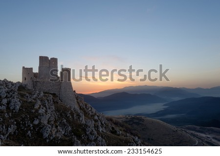 view of the ruins of the castle of Rocca Calascio in Abruzzo, Italy - stock photo
